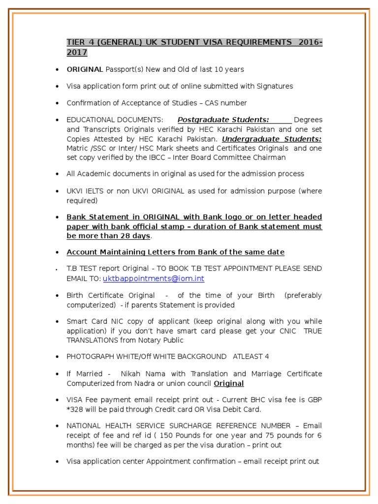 UK Visa Checklist