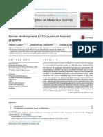2D Materials Beyond Graphen 2015 Progress in Materials Science