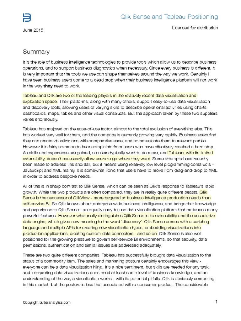 Qlik Sense vs Tableau [Highlighted] | Business Intelligence