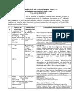 Notification CSSRI RA SRF Technical Asst Posts