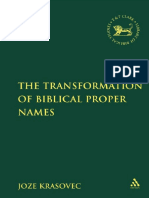 The Transformation of Biblical Proper Names-Bloomsbury T&T Clark (2010)
