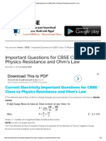 Important Questions for CBSE Class 12 Physics Resistance and Ohm's Law