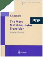 The Mott Metal-Insulator Transition