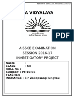 Physics Project File for Kendriya Vidyalaya session 2016-17
