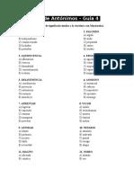 Ejercicios de Antónimos Guia 4