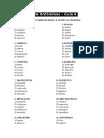 Ejercicios de Antónimos Guía 6