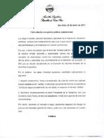 Carta de diputados al Presidente Luis Guillermo Solís