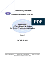 IAF MD 12 Assessment of Certification Activities for Cross Frontier Accreditation Final