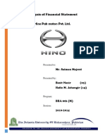 Financial Statement Analysis (Hinopak Motors Ltd,.)