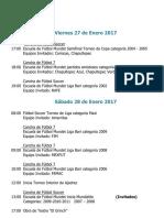 Actividades Fin de Semana 27, 28 y 29 de Enero de 2017