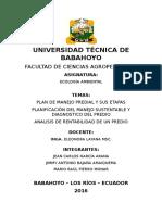Plan de Manejo Predial y Sus Etapas Planificación Del Manejo Sustentable y Diagnostico Del Predio Analisis de Rentabilidad de Un Predio