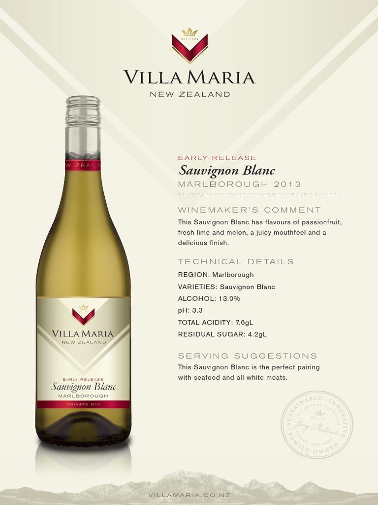Villa Maria Private Bin Sauvignon Blanc | Food Science | Alcoholic