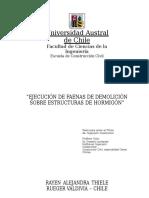 """""""Ejecución de Faenas de Demolición Sobre Estructuras de h""""Rayen"""
