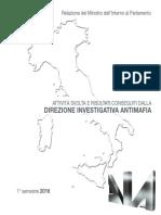 Relazione relativa al primo semestre del 2016 della Direzione investigativa antimafia