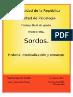 Sordos. Historia, medicalización y presente. Vanessa de Avila