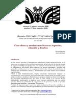 CIFARELLI Viviana y MARTÍNEZ Oscar - Clase obrera y movimiento obrero en Argentina, situación y desafíos.pdf