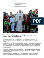 Pope Francis Apologizes to Indigenous Peoples for 'Grave Sins' of Colonialism