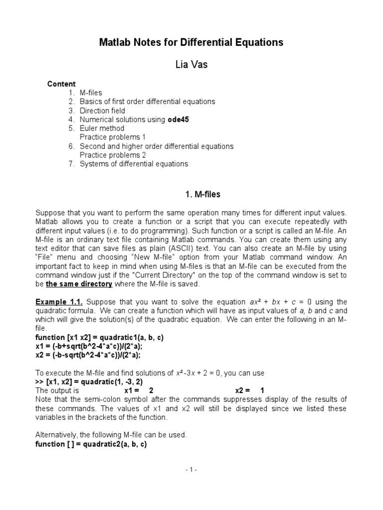 Matlab for MA320   Pi   Equations