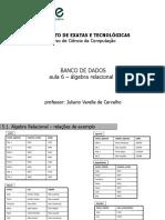 BANCO de DADOS  Álgebra Relacional
