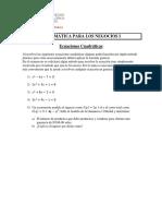 Ejercicios Propuestos Ecuaciones Cuadraticas