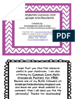 Freebie Kindergarten Common Core Standards Posters