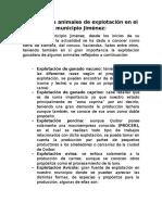Principales Animales de Explotación en El Municipio Jiménez