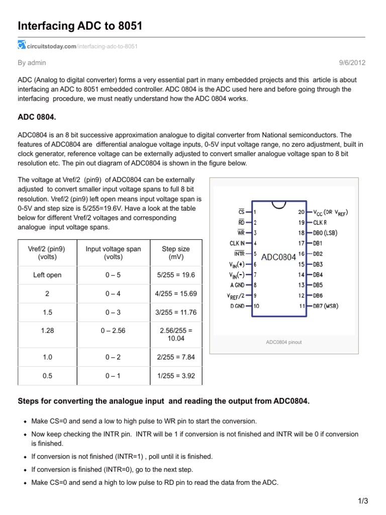 Interfacing Adc To 8051 Analog Digital Converter Electricity