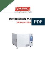 Instruction Manual Shinva 45Litre Autoclave240V With Printer