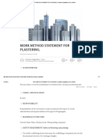 Work Method Statement for Plastering