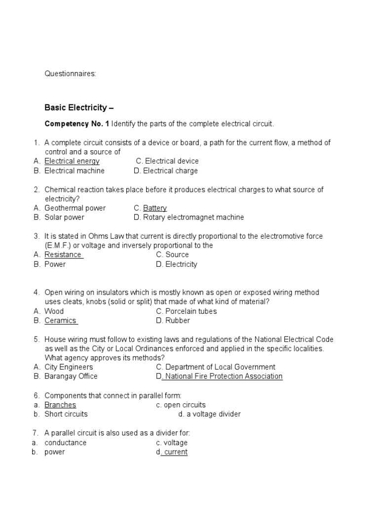 Electricity Questionnaire | Series And Parallel Circuits | Electric ...
