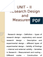 Unit-II Research Design and Measurement