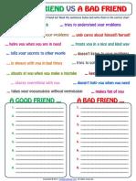 good friend and bad friend categorizing exercise worksheet.pdf