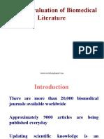 Critical Evaluation of Biomedical Literatures