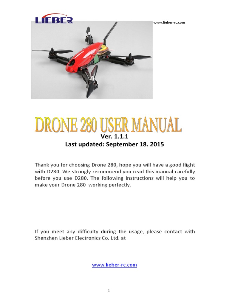 Drone 280 User Manual V1110 Unmanned Aerial Vehicle Flight Battery Balancer Lipo Helipal