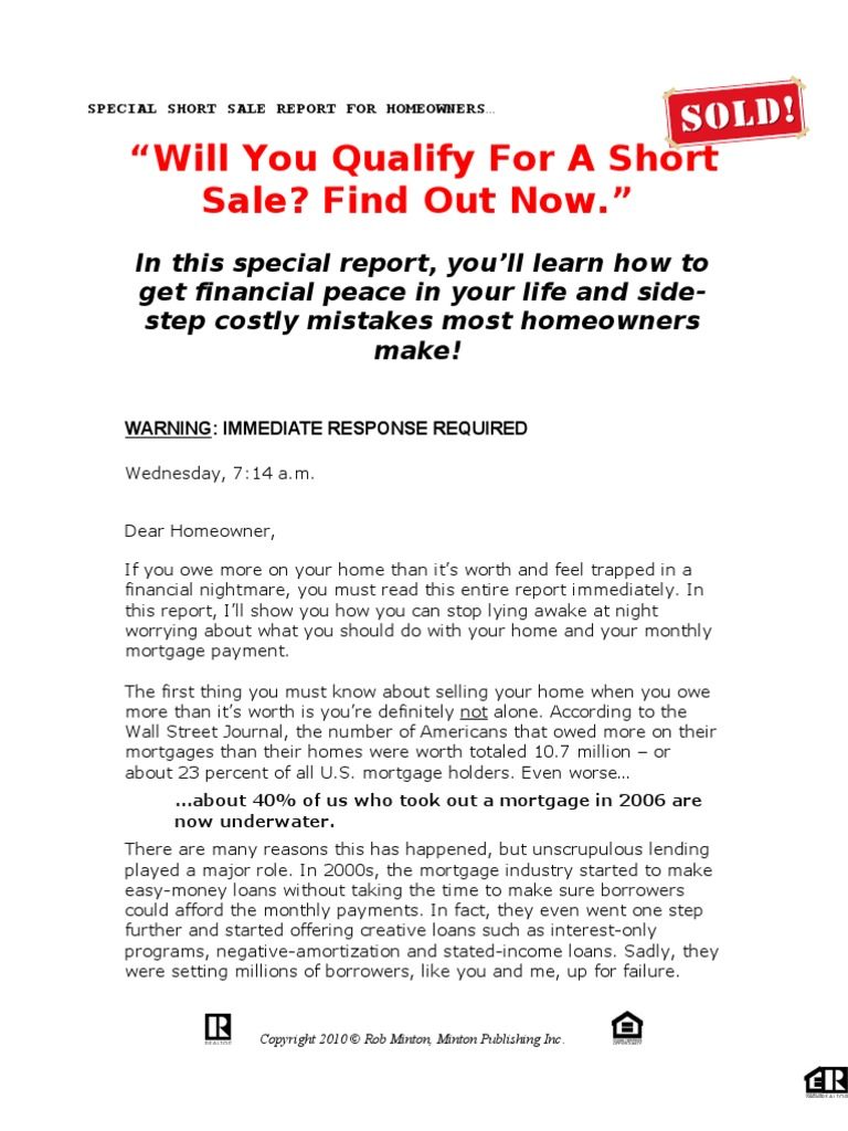 How To Sell Your Home Sales Letter Short Sale1 Short Sale Real
