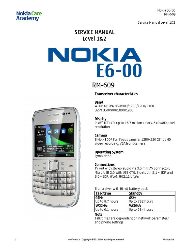 nokia e6 00 rm 609 service manual l1l2 v1 0 pdf electrostatic rh es scribd com nokia e65 service manual download nokia e66 service manual pdf