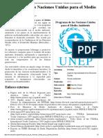 Programa de Las Naciones Unidas Para El Medio Ambiente - Wikipedia, La Enciclopedia Libre