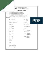 Revised Math 10  Formulas 2015