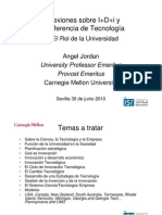 Reflexiones en Sevilla sobre I+D+i y Transferencia de Tecnología de Angel Jordan ( verano de 2010 )