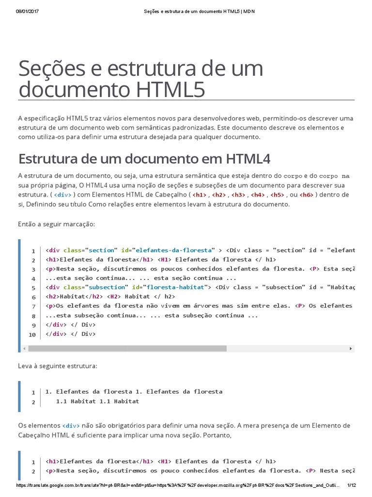 Seções e Estrutura de Um Documento HTML5 - HTML   MDN 6cea8356222c5