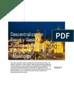 Descentralizacion Fiscal y Gestion Publica