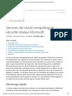 Services de Cloud Computing Et Sécurité Réseau Microsoft _ Microsoft Docs