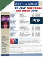 San Diego Fireworks Schedule 2010