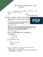 Junction Field Effect Transistors JFETs Basiscs GATE Problems