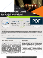 Major Labour Laws (for Punjab v/s Federal)