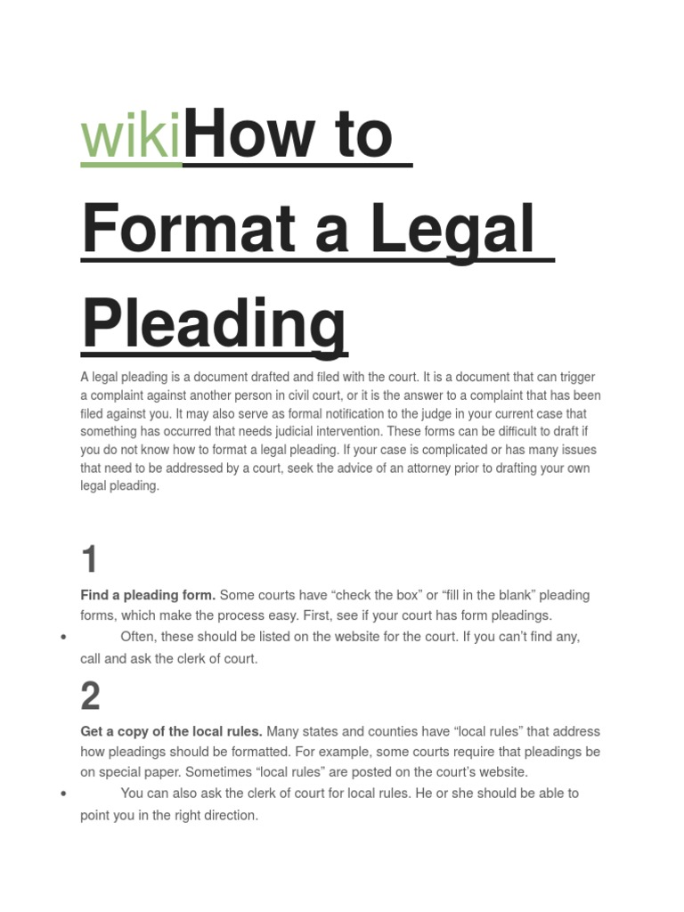 wikihow to format a legal pleading pleading complaint