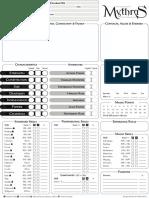 Mythras 2 Page Character Sheet