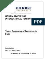 Beginning of Terrorism in India