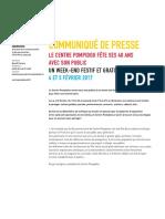 CENTRE  - Communique Programmation 4 Et 5 Fevrier 2017