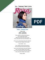 Raisa – Tentang Cinta Lyrics